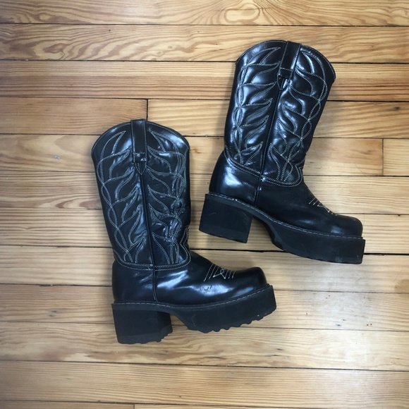 7b544cbdce8 John Fluevog F-Shoes Platform Cowboy Boots, 6.5-7